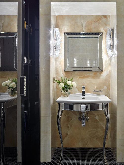 Foto e Idee per Bagni di Servizio - bagno di servizio con piastrelle beige