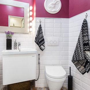 Inspiration för ett eklektiskt toalett