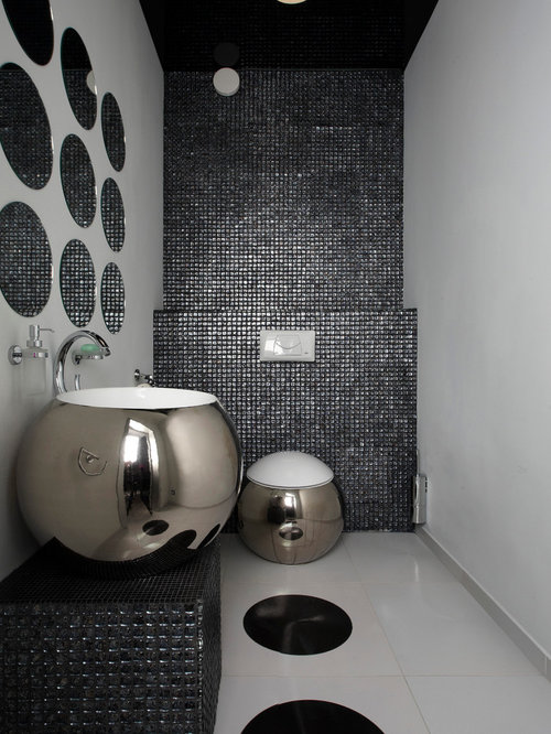 photos et id es d co de wc et toilettes avec un carrelage noir et carrelage en mosa que. Black Bedroom Furniture Sets. Home Design Ideas