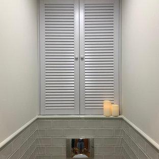 Идея дизайна: маленький туалет в современном стиле с фасадами с филенкой типа жалюзи, серыми фасадами, зеленой плиткой и белыми стенами
