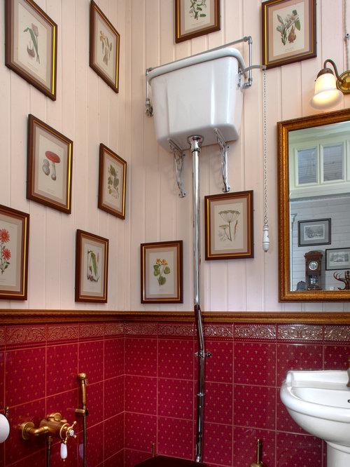 Bagno vittoriano con piastrelle rosse foto idee - Piastrelle bagno rosse ...