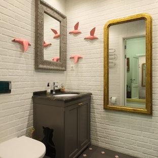 Идея дизайна: туалет в стиле современная классика с коричневыми фасадами, инсталляцией, врезной раковиной, фасадами с декоративным кантом, белыми стенами и разноцветным полом