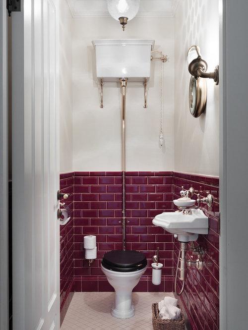 Photos et idées déco de WC et toilettes avec un carrelage rouge