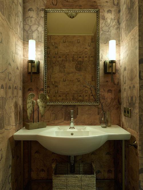 Foton och inspiration för asiatiska toaletter, med ett konsol handfat