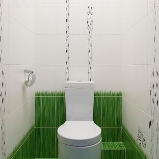 Design ideas for a contemporary cloakroom in Moscow with a two-piece toilet, white tiles, green tiles and green floors.