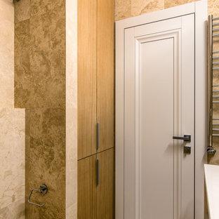 Идея дизайна: туалет в современном стиле с коричневой плиткой, разноцветным полом, открытыми фасадами, бежевыми стенами и бежевой столешницей