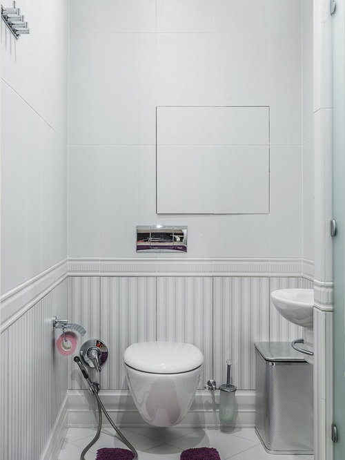 Photos et id es d co de wc et toilettes contemporains avec for Carrelage blanc wc