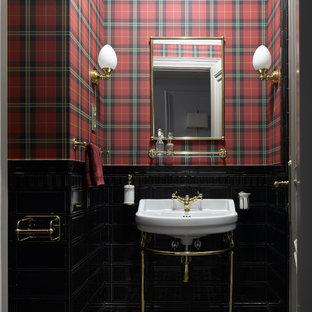 Идея дизайна: туалет среднего размера в классическом стиле с разноцветными стенами, полом из керамогранита, консольной раковиной и разноцветным полом