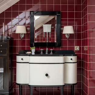 Traditional cloakroom in Moscow with red tiles, ceramic tiles, cement flooring, marble worktops, white floors, flat-panel cabinets and white cabinets.