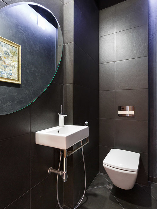 photos et id es d co de wc et toilettes avec un carrelage noir et un wc suspendu. Black Bedroom Furniture Sets. Home Design Ideas