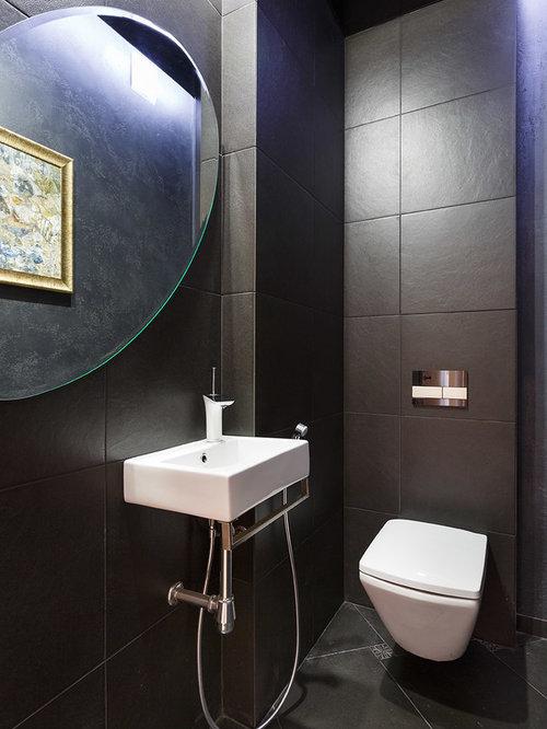 Photos et id es d co de wc et toilettes avec un carrelage noir - Deco van wc ...