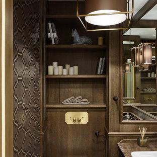 На фото: маленькие туалеты в стиле современная классика с инсталляцией, коричневой плиткой, коричневыми стенами и накладной раковиной