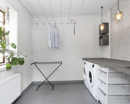 Best scandinavian laundry room design ideas remodel pictures houzz - Revetement mural ikea ...