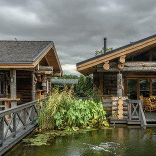 Новые идеи обустройства дома: тенистый, летний участок и сад в стиле рустика с прудом