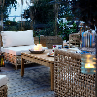 Inspiration for a scandi side patio in Stockholm with decking and an awning.