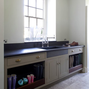 Inspiration for a large traditional utility room in Gloucestershire with beaded cabinets and grey cabinets.