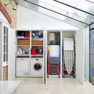 Charming Inspiration For A Contemporary Single Wall Laundry Cupboard In London With  Flat Panel Cabinets