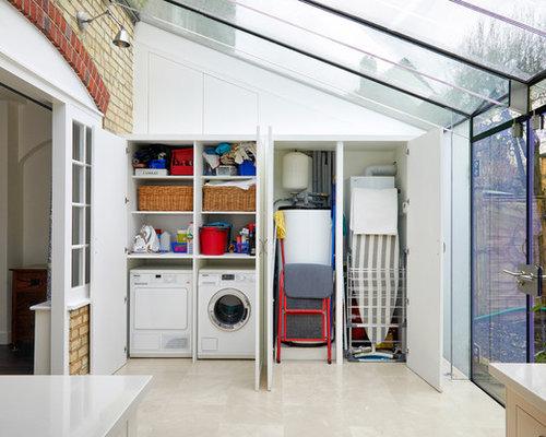 hauswirtschaftsraum mit waschmaschinenschrank ideen f r waschk che haushaltsraum houzz. Black Bedroom Furniture Sets. Home Design Ideas