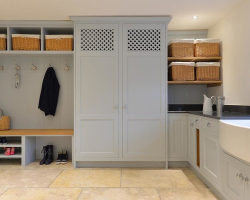 inspiration for a large traditional l shaped utility room in other with a belfast sink - Utility Room Design Ideas