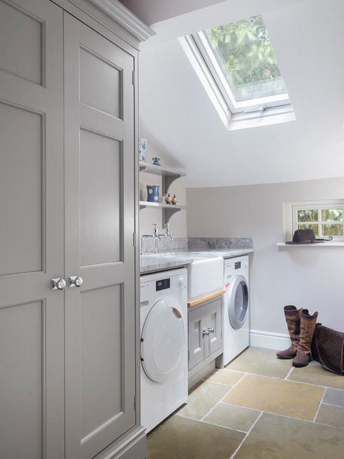 inspiration for a small traditional single wall separated utility room in hampshire with a belfast - Utility Room Design Ideas
