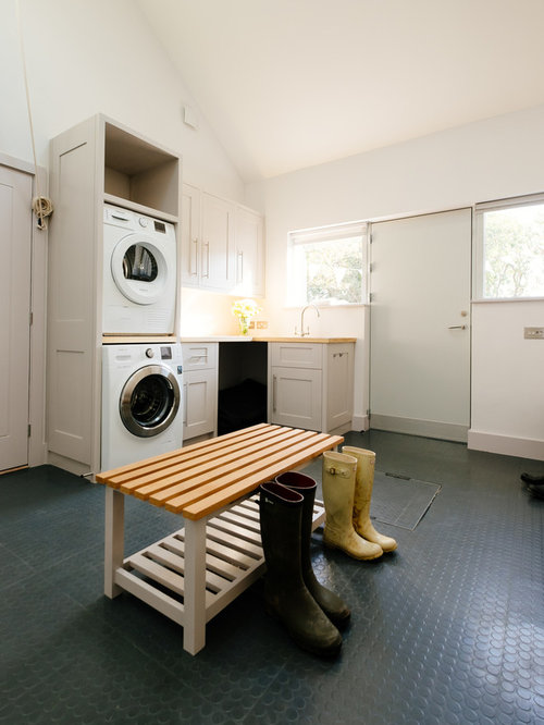 Inspiration For A Classic L Shaped Utility Room In Cornwall With Shaker  Cabinets, White Part 91