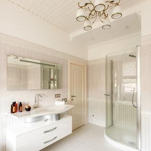 Salle de bain romantique avec un carrelage gris : Photos et idées ...