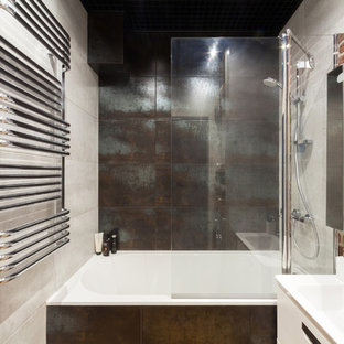 Design ideas for an urban ensuite bathroom in Moscow with flat-panel cabinets, white cabinets, an alcove bath, a shower/bath combination, brown tiles, grey tiles, an integrated sink and an open shower.