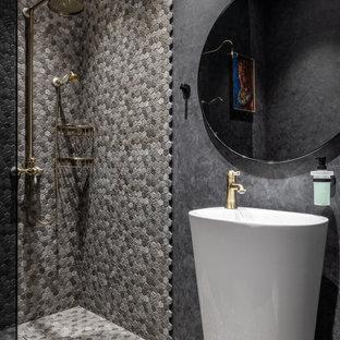 На фото: ванная комната в современном стиле с душем без бортиков, серой плиткой, серыми стенами, душевой кабиной, серым полом, тумбой под одну раковину и плиткой мозаикой с