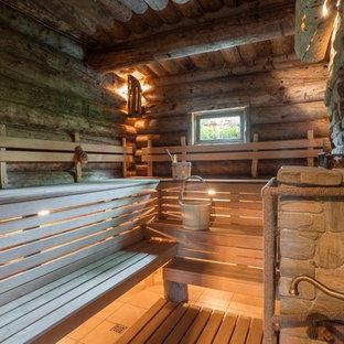 На фото: баня и сауна в стиле рустика с