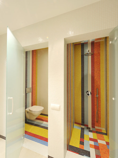 Shower A Wall Mounted Toilet Orange Tiles Mosaic Tiles Orange