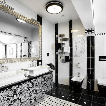 Черно-белая ванная.
