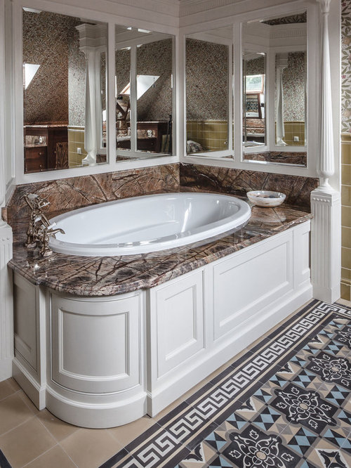 Houzz Victorian Bathroom With Blue Tile Design Ideas Remodel Pictures