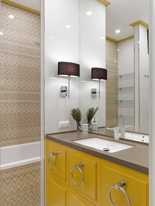 Yellow Bathroom Design Ideas Renovations Photos With A Shower Bath Combination