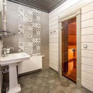 Immagine di una sauna minimal di medie dimensioni con piastrelle grigie, piastrelle in gres porcellanato, pavimento in gres porcellanato, lavabo a colonna, pavimento grigio e pareti bianche