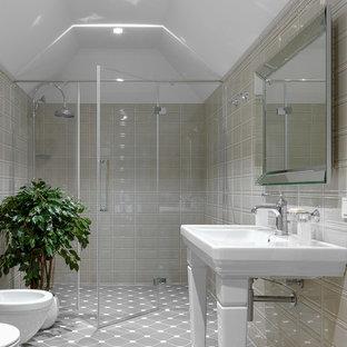 На фото: ванные комнаты в стиле современная классика с душем без бортиков, инсталляцией, серой плиткой, белыми стенами, душевой кабиной, консольной раковиной и серым полом