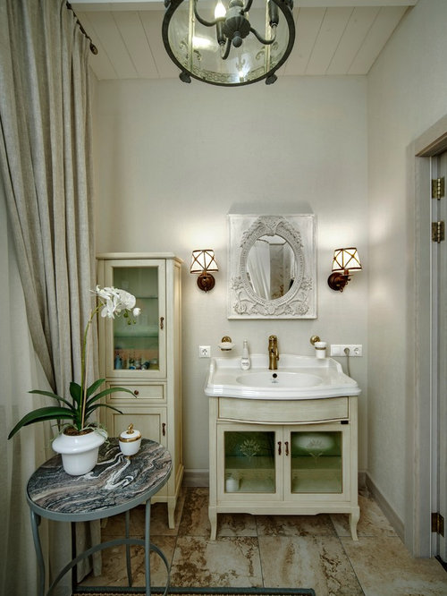 Best shabby chic style bathroom with stone tile design for Shabby chic wall tiles