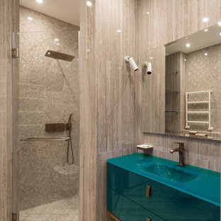 Inspiration for a mid-sized contemporary 3/4 bathroom in Moscow with flat-panel cabinets, turquoise cabinets, an alcove shower, beige tile, porcelain tile, an integrated sink, beige floor, a hinged shower door and turquoise benchtops.