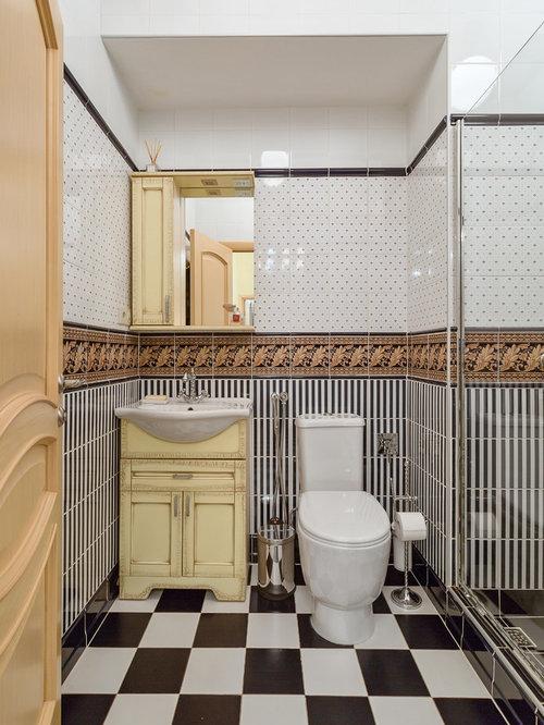 salle d 39 eau avec un carrelage noir et blanc photos et id es d co de salles d 39 eau. Black Bedroom Furniture Sets. Home Design Ideas
