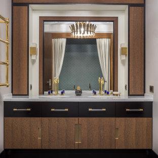 На фото: главная ванная комната в белых тонах с отделкой деревом в стиле неоклассика (современная классика) с плоскими фасадами, коричневыми фасадами, серыми стенами, врезной раковиной, коричневым полом и серой столешницей с