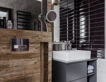 """Фото ванной комнаты реализованного проекта квартиры ЖК """"Центральный"""""""