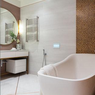 Идея дизайна: большая ванная комната в современном стиле с душевой кабиной, отдельно стоящей ванной, белой столешницей, тумбой под одну раковину и напольной тумбой