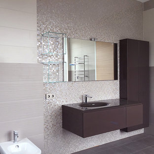 Large trendy master gray tile and mosaic tile ceramic floor, purple floor and single-sink bathroom photo in Moscow with flat-panel cabinets, purple cabinets, a wall-mount toilet, purple walls, a wall-mount sink, glass countertops, purple countertops and a floating vanity