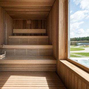 Идея дизайна: большая баня и сауна в современном стиле