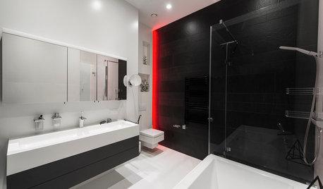 Les jeux de lumière électrisent la salle de bains