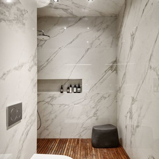 Inspiration for a small contemporary 3/4 white tile and porcelain tile bathroom remodel in Moscow with a wall-mount toilet