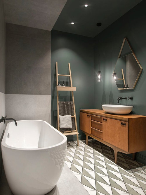 Large Danish Master Gray Tile And Porcelain Tile Cement Tile Floor And Multicolored Floor Freestanding Bathtub