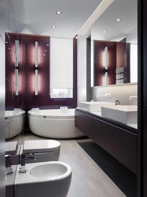 badezimmer mit lila schränken: design-ideen & beispiele für die, Badezimmer