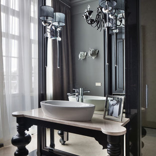 Example of a classic bathroom design in Moscow with a vessel sink