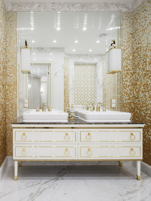 transitional yellow tile and mosaic tile marble floor and white floor bathroom photo in saint petersburg - Yellow Tile Bathroom Ideas