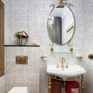На фото: ванная комната в стиле кантри с белой плиткой, консольной раковиной, разноцветным полом, тумбой под одну раковину и инсталляцией